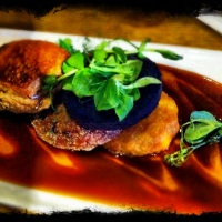 Pork Belly, with black pudding and a apple fritter